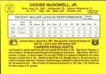 Oddibe McDowell 1987 Donruss Baseball Card Texas Rangers