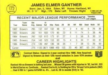 Jim Ganther 1987 Donruss Baseball Card Milwaukee Brewers
