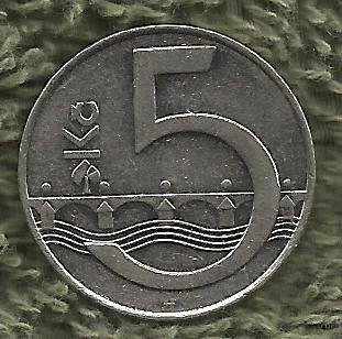 """Czech Republic 5 Kc """"Korun"""" 1993 Coin"""