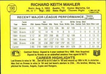 Rick Mahler 1987 Donruss Baseball Card Atlanta Braves