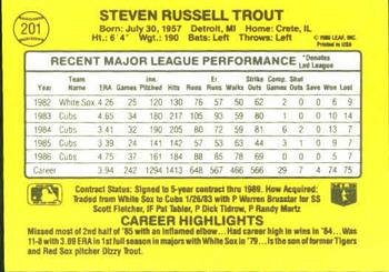 Steve Trout 1987 Donruss Baseball Card Chicago Cubs