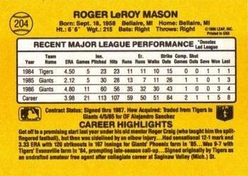 Roger Mason 1987 Donruss Baseball Card San Francisco Giants