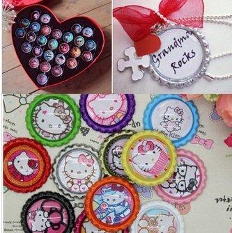 20pcs 10colors to choose diy jewelry bottle cap