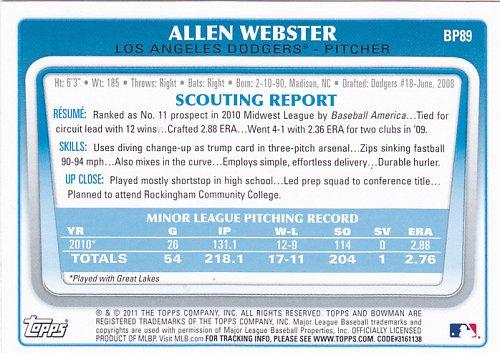 Allen Webster #BP89 - Dodgers 2011 Bowman Baseball Trading Card