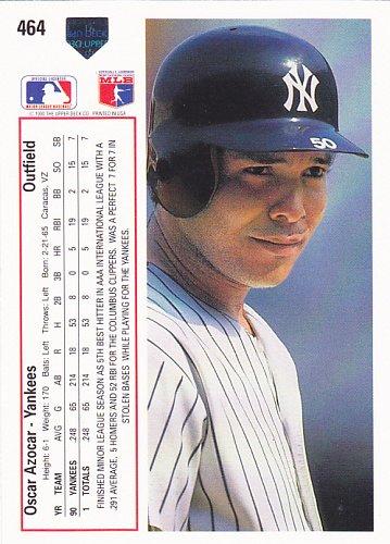 Oscar Azocar #464 - Yankees 1991 Upper Deck Baseball Trading Card