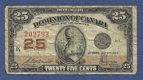 CANADA 25 Cents 1923 BANKNOTE# 202793 - DOMINION OF CANADA - SHINPLASTER