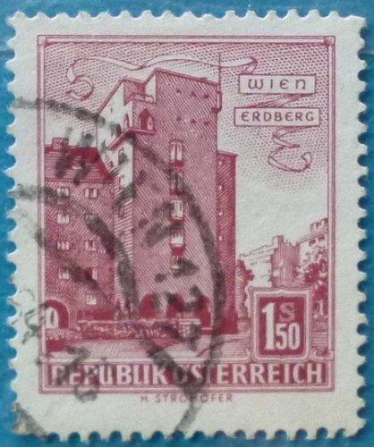 """Stamp Austria 1958 Definitive Housing """"Rabenhof"""", Vienna-Erdberg 1.5 Schilling"""