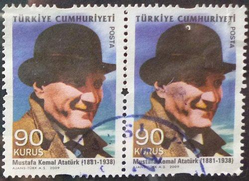 Stamp Turkey 2009 Definitive Stamps Depicting Kamal Ataturk 90 Kurus Pair
