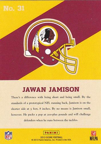 Jawan Jamison #31 - Redskins 2013 Score Football Rookie Trading Card