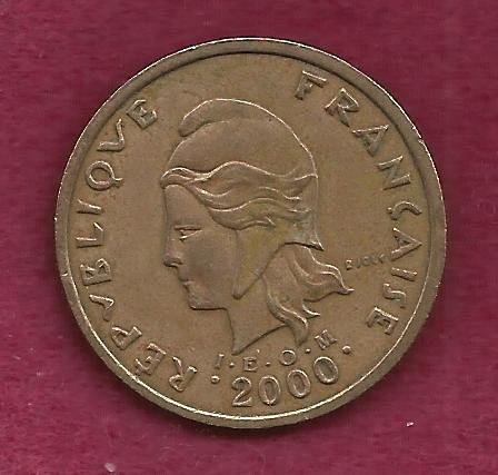 FRANCE 100 Francs 2000 Coin - French Polynesia - Tropical Island