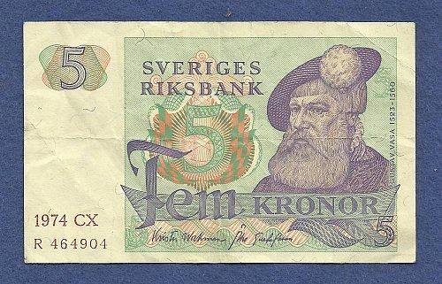 SWEDEN 5 Kronor 1974 Banknote CX R 464904 - Gustav Vasa