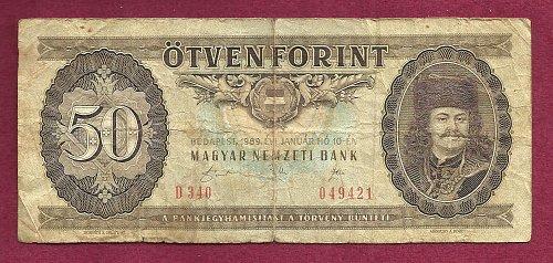 Hungary 50 Forint 1989 Magayar Nemzeti Bank Banknote 049421- Prince F.Rakoczi