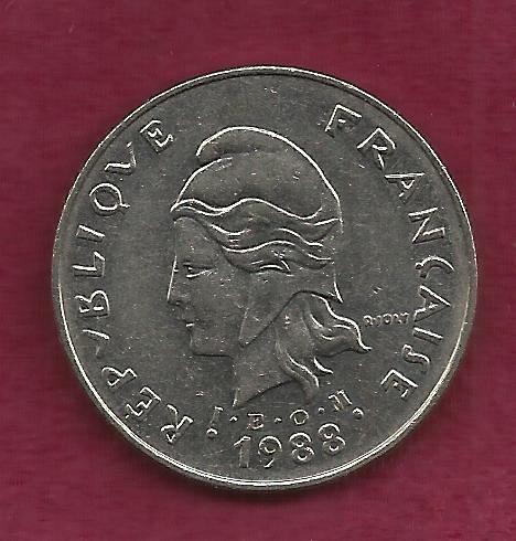 FRANCE 50 Francs 1988 Coin - French Polynesia - Tropical Island