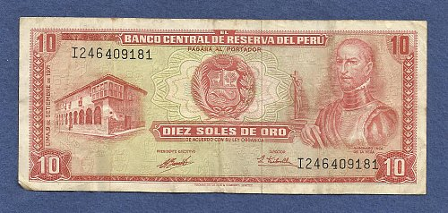 PERU 10 Soles de Oro 1971 Banknote I246409181