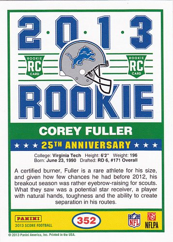 Corey Fuller - Lions 2013 Score Rookie Football Trading Card #352