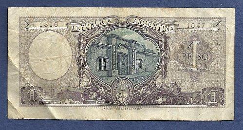 Argentina 1 (Un) Peso 1947 Banknote 25857387A - Justice Sword & Scale p260 Banknote
