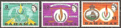 Bahamas: International Human Rights Year (1968) MNH Complete 3-value set