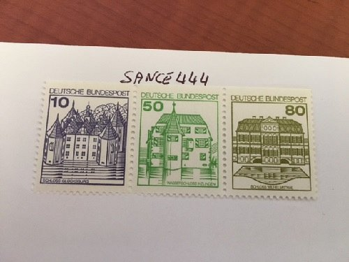 Germany Castle strip 10+50+80 top imperf mnh 1980