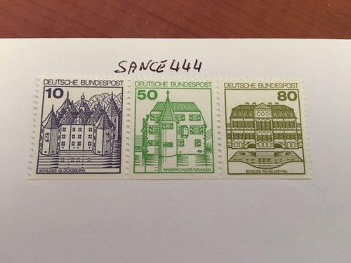 Germany Castle strip 10+50+80 bottom imperf mnh 1980