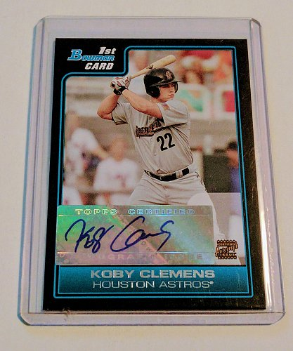 MLB KOBY CLEMENS AUTOGRAPH 2006 BOWMAN CHROME FIRST ROOKIE MINT