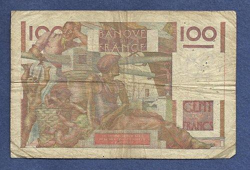 FRANCE 100 Francs 1952 Banknote No 1150028598 - JEUNE PAYSA