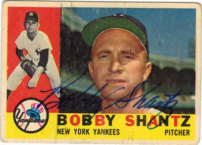 Vintage BOBBY SHANTZ MLB Superstar Autographed Card Gd-Vg