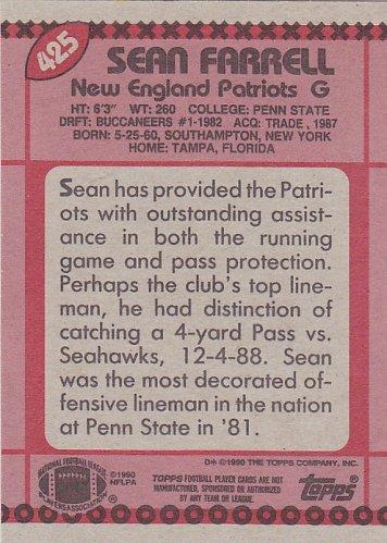 Sean Farrell #425 - Patriots 1990 Topps Football Trading Card