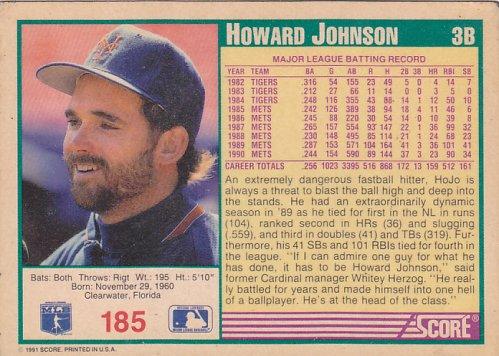 Howard Johnson #185 - Mets Score 1991 Baseball Trading Card