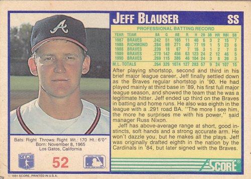 Jeff Blauser #52 - Braves 1991 Score Baseball Trading Card