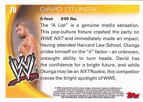 David Otunga #70 - WWE Topps 2010 Wrestling Trading Card