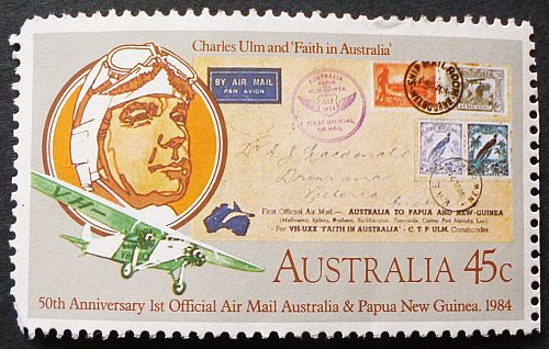 Stamp Australia 1984 The 50th Anniversary of the First Official Airmail - Australia,
