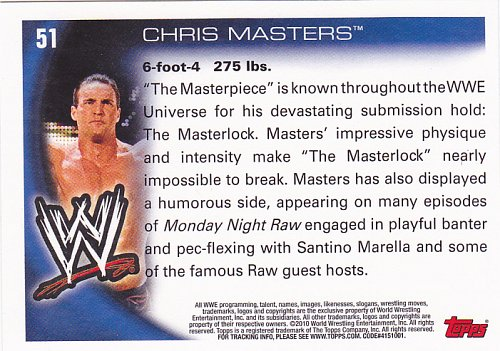 Chris Masters #51 - WWE 2010 Topps Wrestling Trading Card