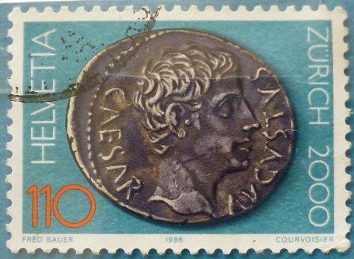 Stamp Switzerland 1986 The 2000th Anniversary of Zurich Emperor Augustus Roman Coin