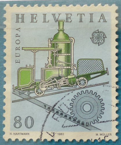 Stamp Switzerland 1983 Europa CEPT Cog railway of Niklaus Riggenbach (1817-99) engine