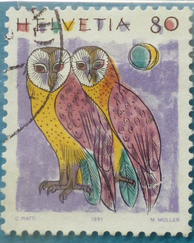 Stamp Switzerland 1991 Definitive Animals Barn Owls (Tyto alba) 80 Centime