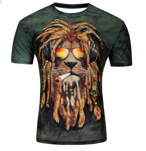 men 3D LION printed tshirt top