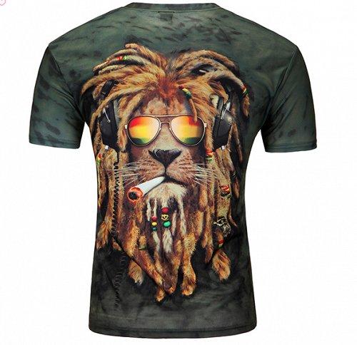 men 3D LION printed tshirt top