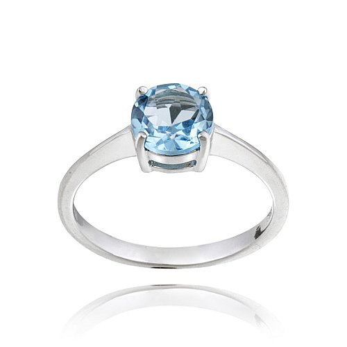Sterling Silver Swiss Blue Topaz Solitaire Round Ring