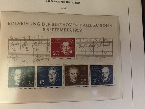 Germany Beethoven s/s mnh 1959 #2