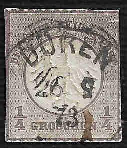 German Used Scott #1 Catalog Value $85.00