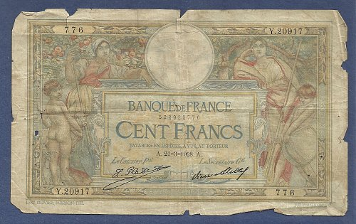 France 100 Francs 1928 Banknote Y20917 - Signature: Le Caissier Principal