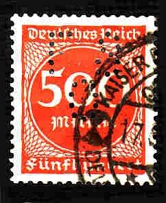 German Used Perfin Scott #233 Catalog Value $6.00