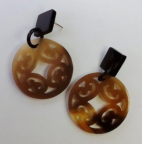 Buffalo horn earrings - Boucle d'oreille corne de buffle - KAI-2698