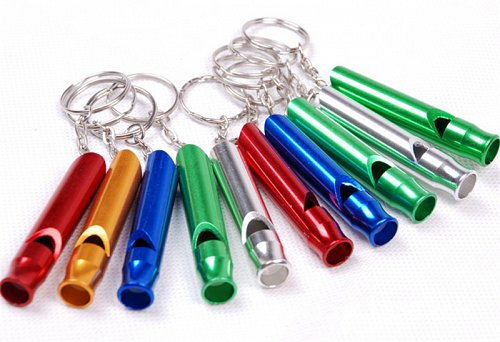 Aluminum Emergency Survival Whistle Keychain For Camping Hiking Outdoor Sport Tools