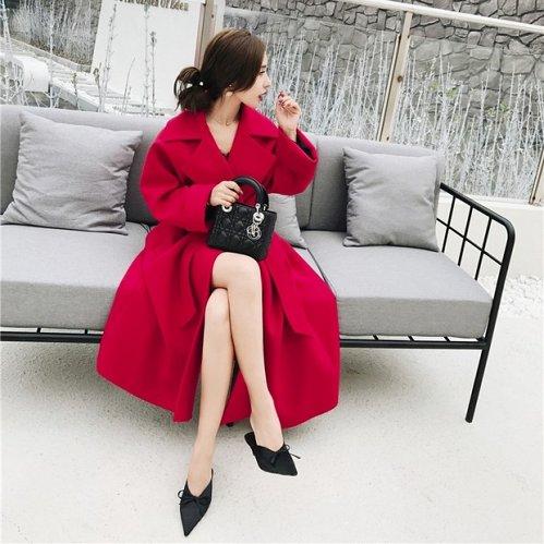 women woolen long coat RED