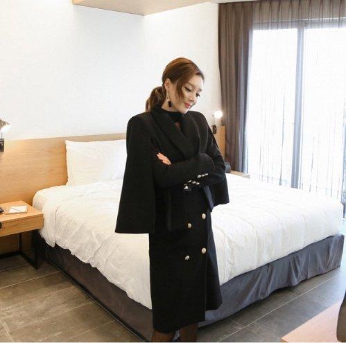 Women black 2 pieces long coat