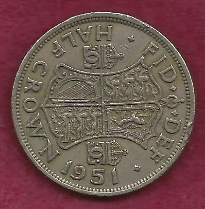 GREAT BRITAIN - Half Crown 1951 Coin - George VI - England