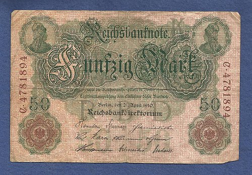 GERMANY Imperial Reichsbanknote 50 Mark 1910 Banknote #C4781894 - Large Note