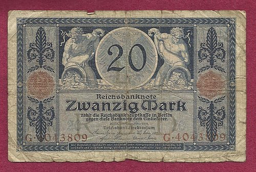 Germany 20 Mark 1915 P63 Banknote #G4043809 - 2 men with cornucopias with money