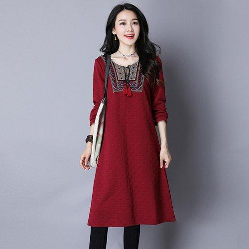 women embroidery midi coat dress